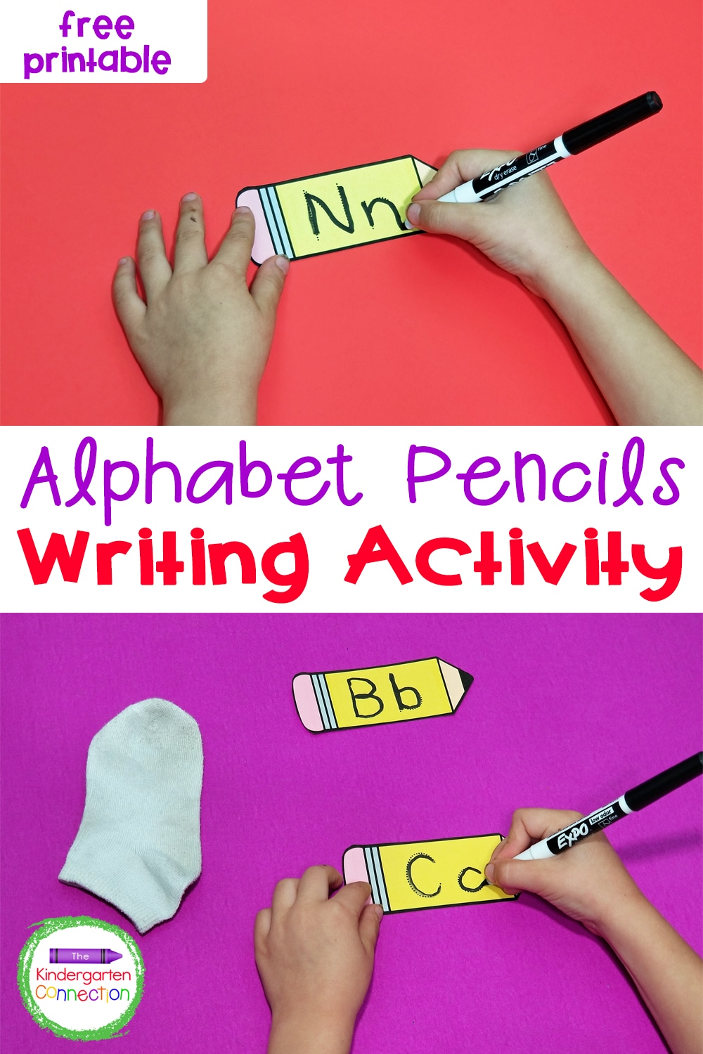 Letter writing practice is so much fun with these free Alphabet Writing Pencils! They're perfect for Pre-K and Kindergarten!