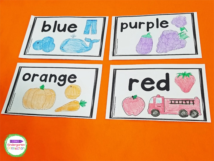 Each book contains a focus color and fun pictures for the students to color.