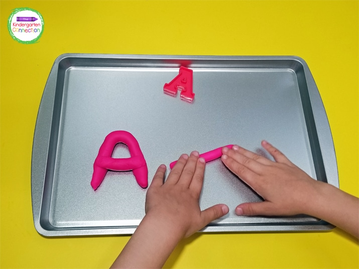 Pair play dough with some letter magnets and your students will be thrilled to practice letter recognition.
