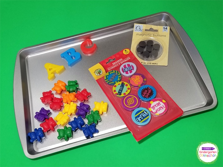 Simply attach magnetic buttons to manipulatives or even printable game pieces and you have a hands-on center for your kiddos.