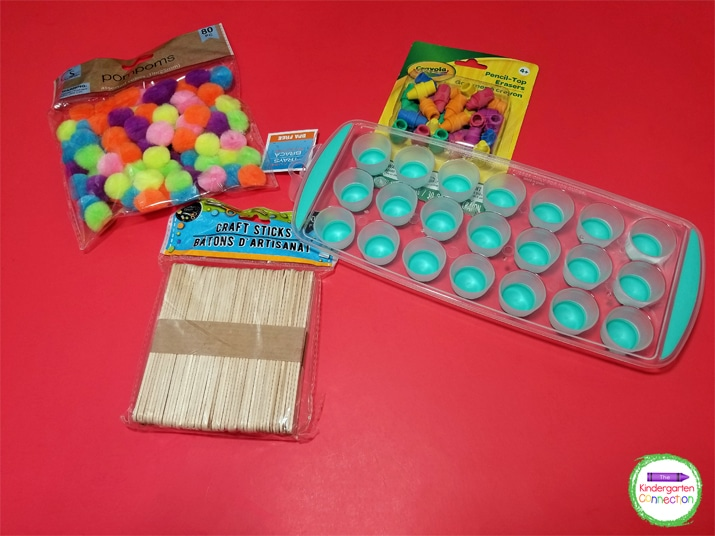 Any small manipulatives (erasers, counting bears, etc.) also work great for counting and adding to the ice cube trays!