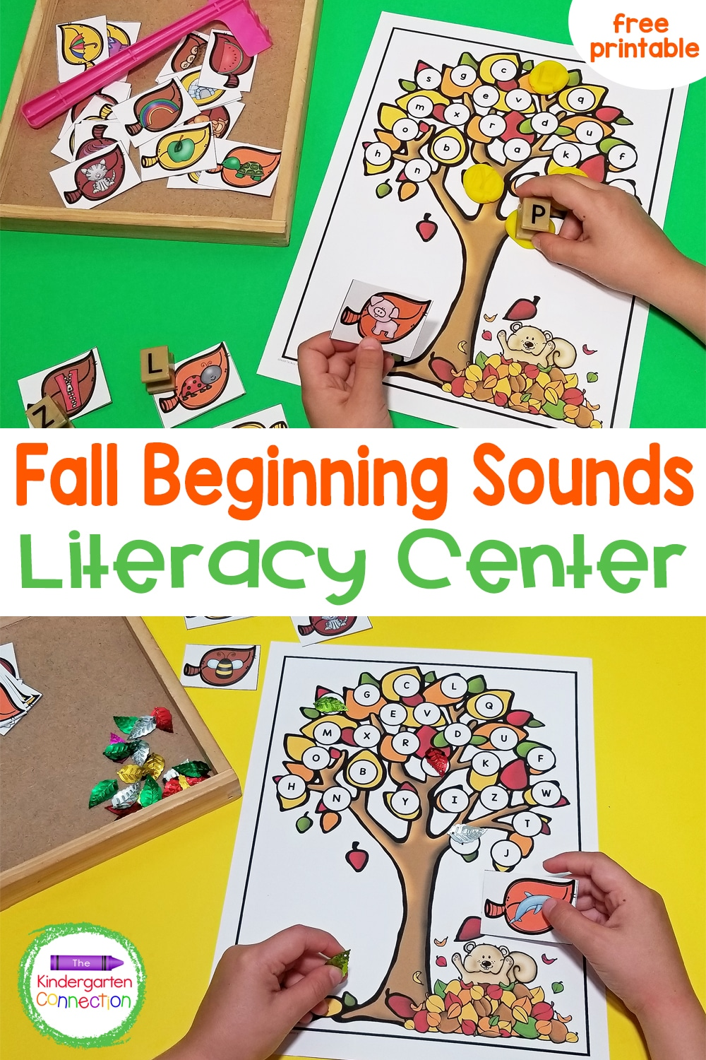 Grab this free Fall Leaves Beginning Sounds Activity for Kindergarten small groups and literacy centers this season! Your kids will love it!