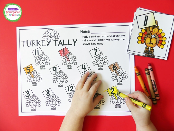 Students pick a turkey card, count the tally marks, and color the turkey that shows how many on the recording sheet!