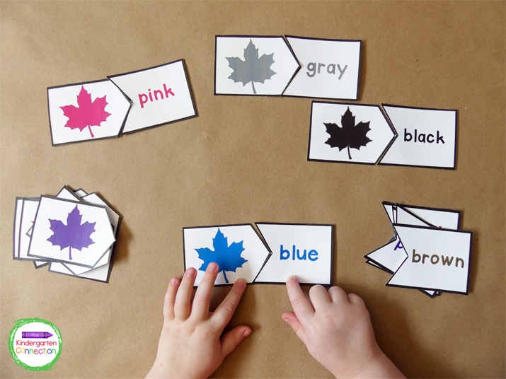 In this Colorful Leaves activity, kiddos match the colorful leaves to their color words.