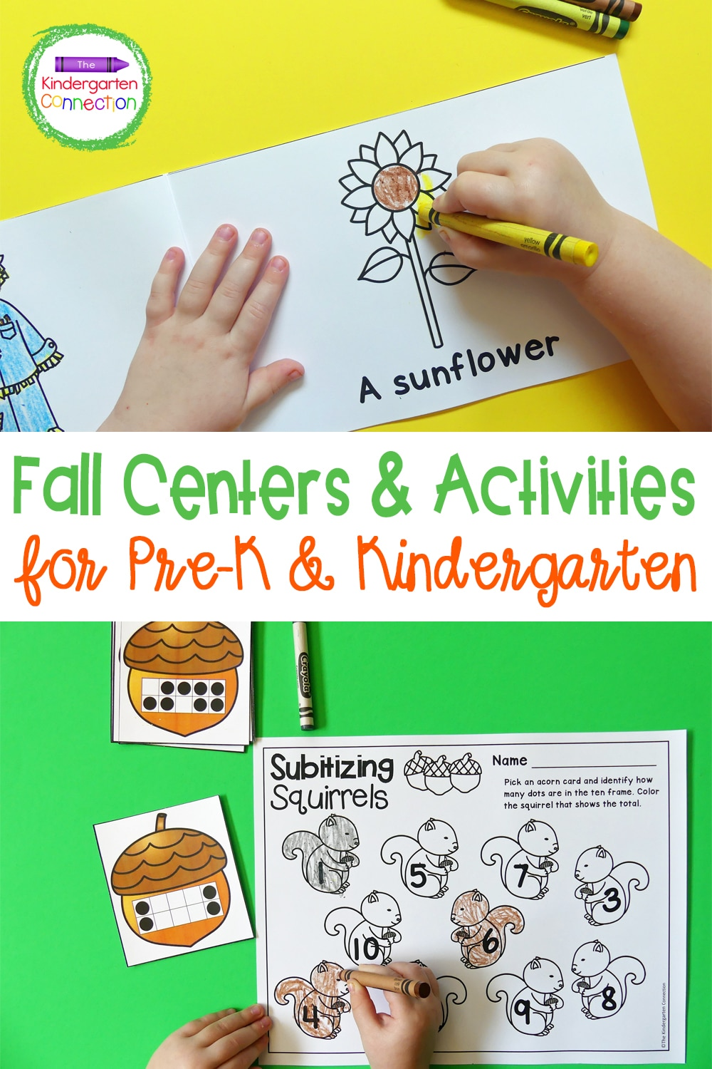 These Fall Themed Activities and Centers for Pre-K & Kindergarten are a fun way to work on letters, sight words, numbers, counting, and more!
