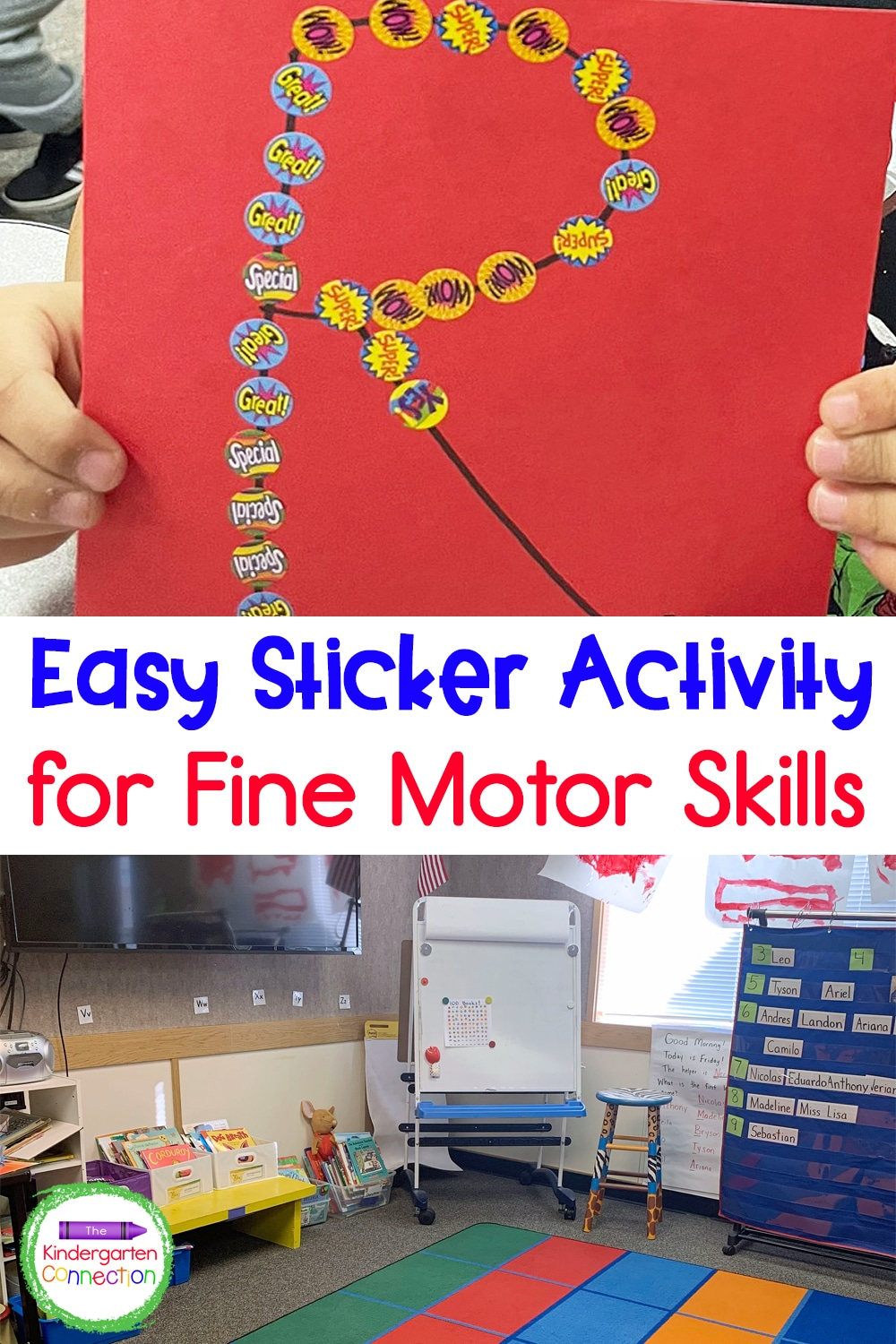 This easy fine motor sticker activity is a perfect activity for those first days of school or any time of the year!