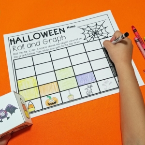 Halloween Roll and Graph Math Activity