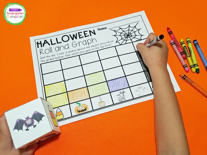 This roll and graph activity comes with a printable die with fun Halloween pictures that is easy to assemble.