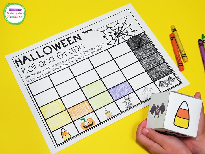 All you need for this activity is the recording sheet, printable, die, and some crayons!