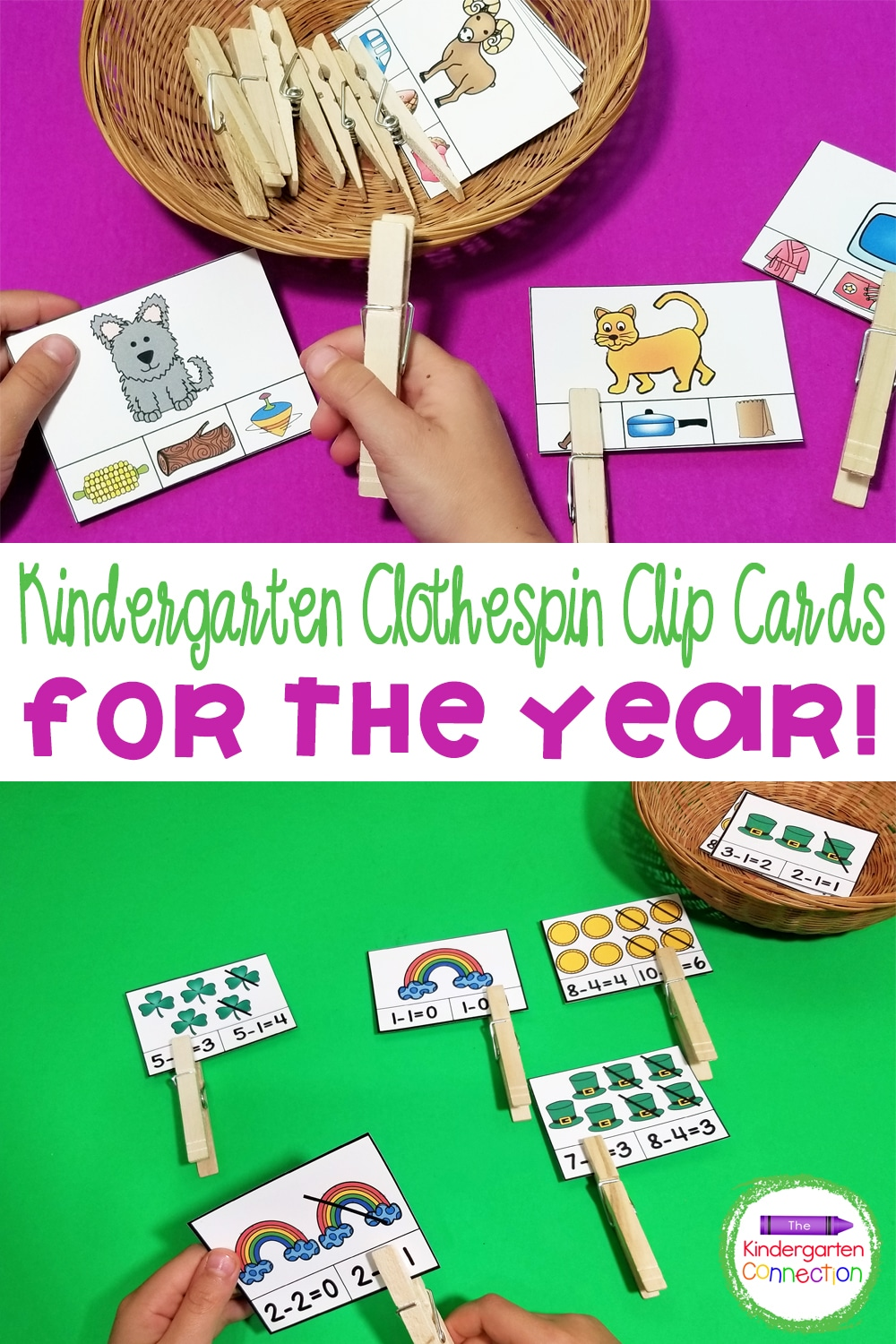 This Math and Literacy Clip Cards for Kindergarten Bundle includes hands-on clip cards with fun, seasonal themes for the entire year!