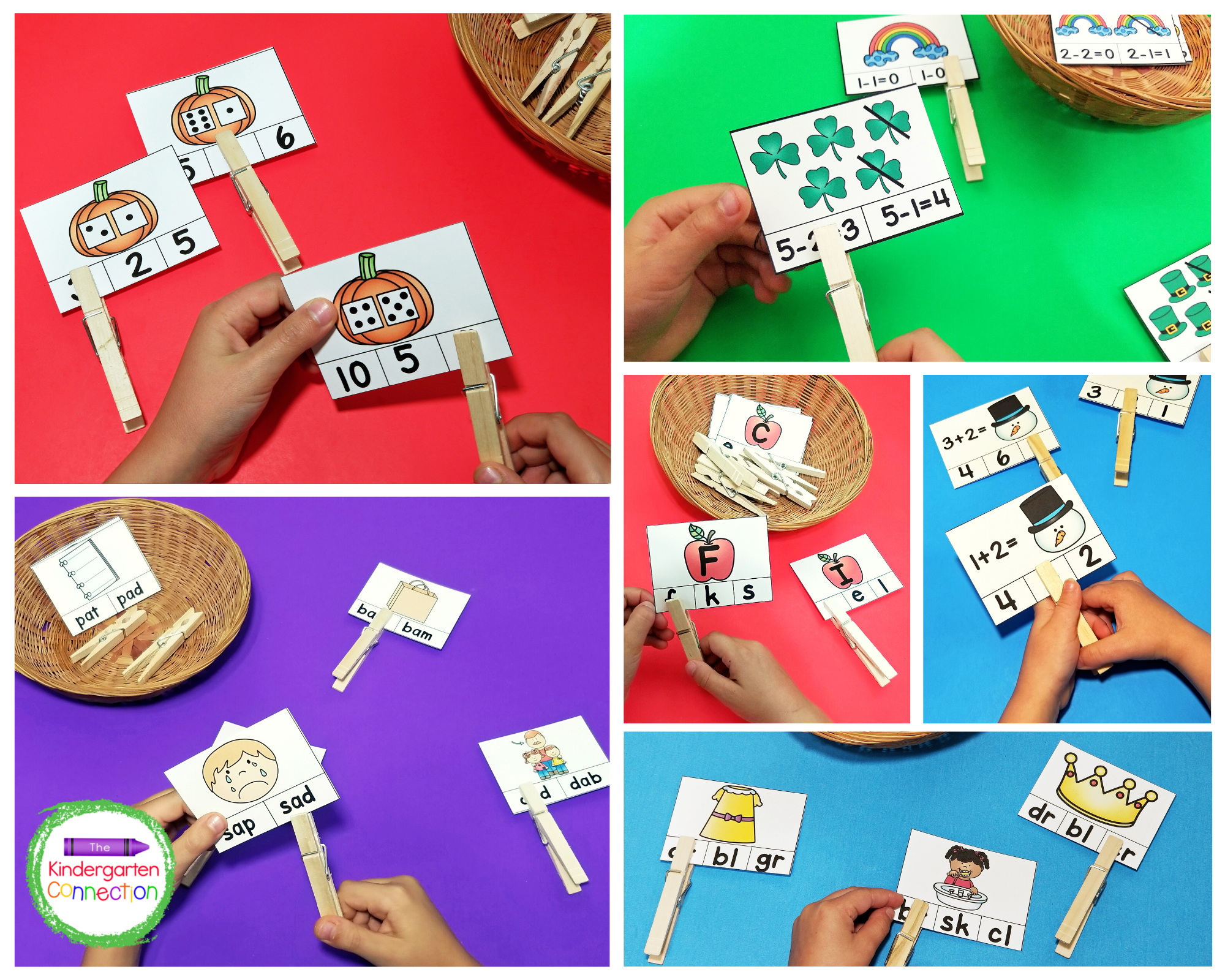 This amazing resource pack includes 9 themed sets of math and literacy clip cards.