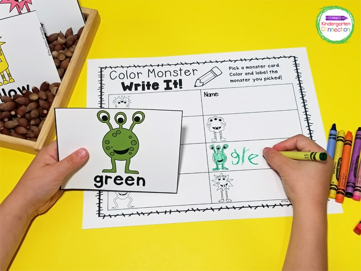 Add the color monster cards to a sensory bin to level up the hands-on fun!