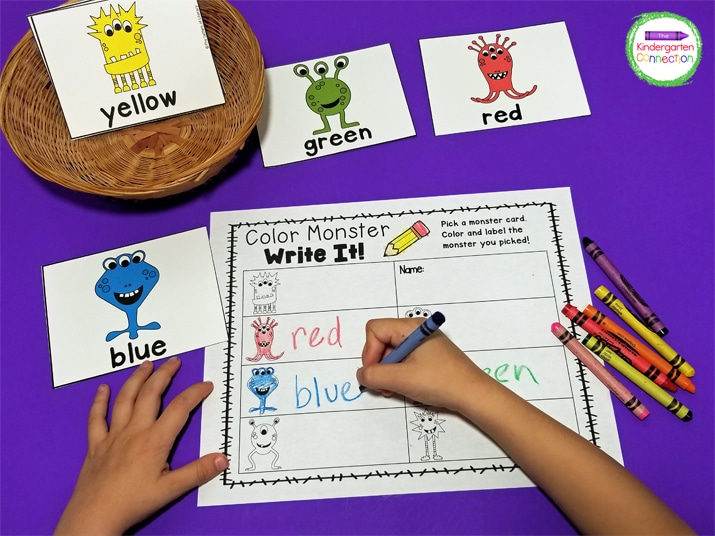 Laminate the color monster cards and print the recording sheet for this fun color words activity.