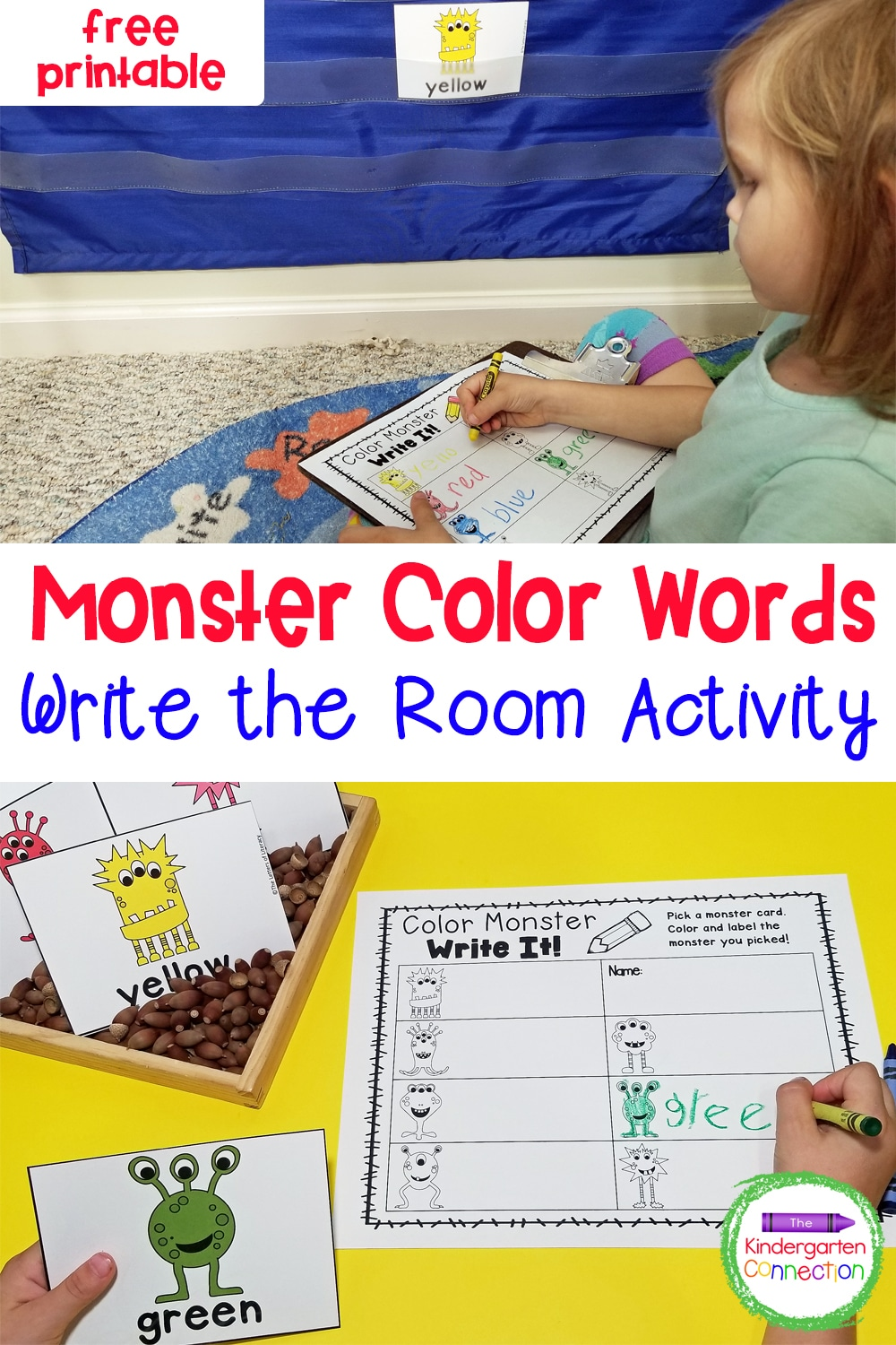 This fun and free Write the Room Monster Color Words activity makes learning color words exciting and hands-on in Pre-K & Kindergarten!