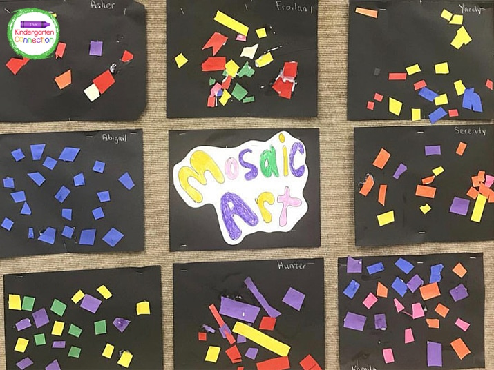 Hang the mosaic art pieces up as a fun display in the classroom or at home!