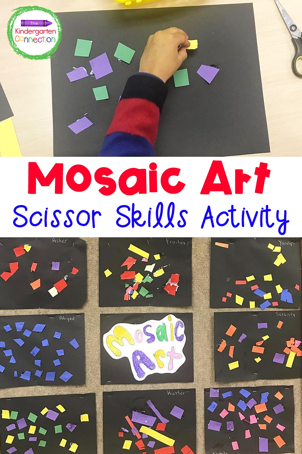 This simple and fun mosaic art scissor skills activity will have your students practicing cutting skills while also making beautiful art!