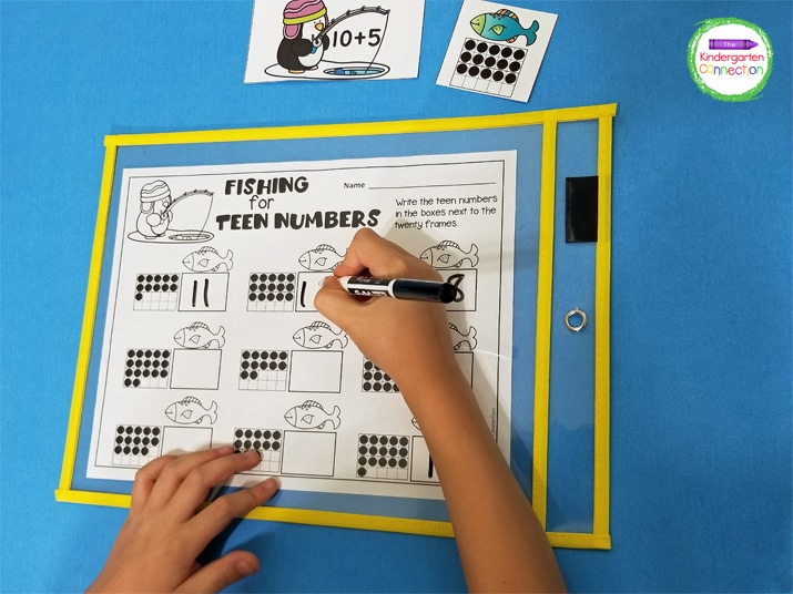 Put the recording sheet in a dry erase sleeve so that the students can record numbers during math centers without having to use more paper.