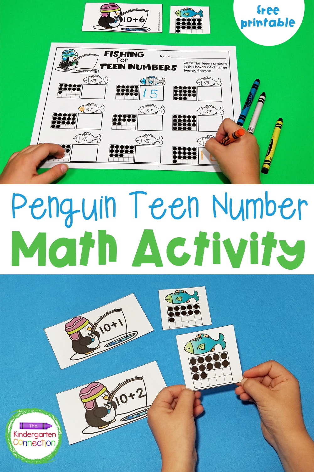 """This free Penguin Teen Number Counting Game shows that a teen number is made up of """"10 and some more"""" in a fun, hands-on way!"""