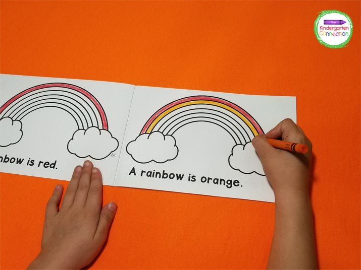 This emergent reader also works on sequencing as the kids must put the colors in order to complete their rainbow!